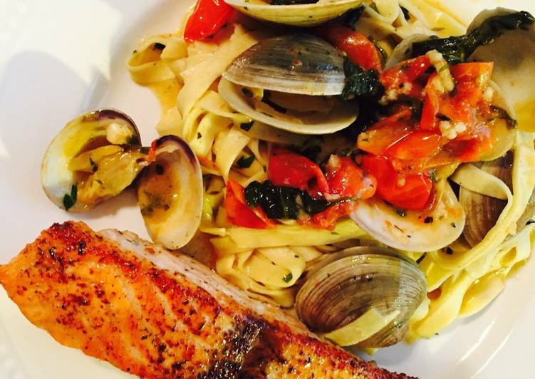 Step-by-Step Guide to Prepare Super Quick Homemade Italian Linguine With Salmon And Clams