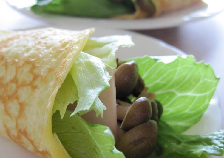 Steps to Prepare Perfect Lettuce and Mushroom Rice Flour Crepes