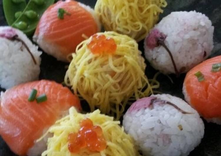 Recipe of Homemade Temari Sushi for a Cherry Blossom Party or Hina-matsuri Girls' Day