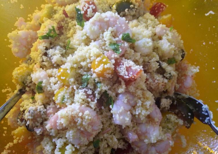 Colourful couscous salad with rainbow tomatoes lime & coriander