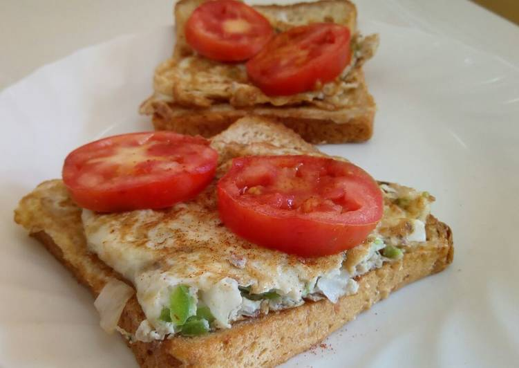 Steps to Prepare Perfect Open French Toast Egg and Tomato Sandwich