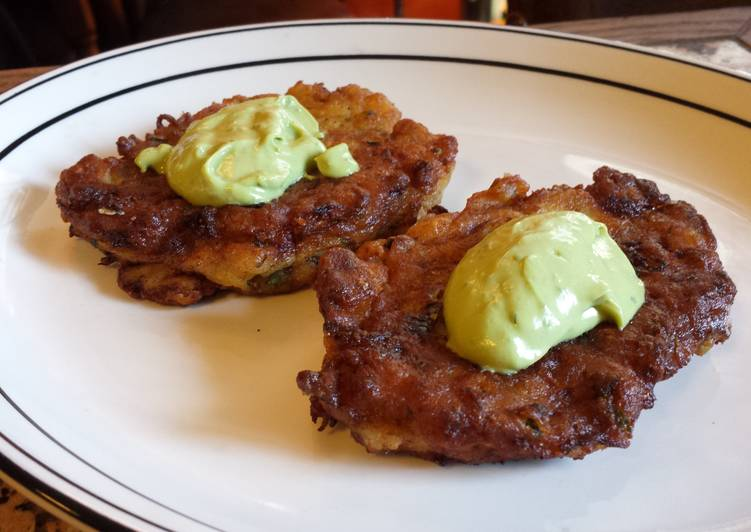 Easy Homemade Razor Clam and Zucchini Fritters with my Avocado Sauce Recipe