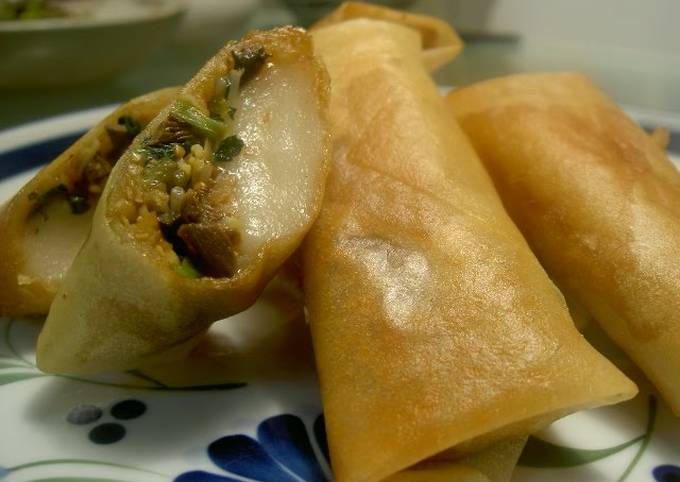 Sweet & Salty Spring Rolls with Vegetable Namul and Tteokbokki (Mochi)