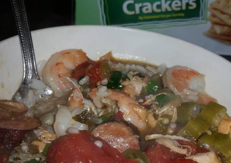 Shrimp, sausage, and chicken GUMBO