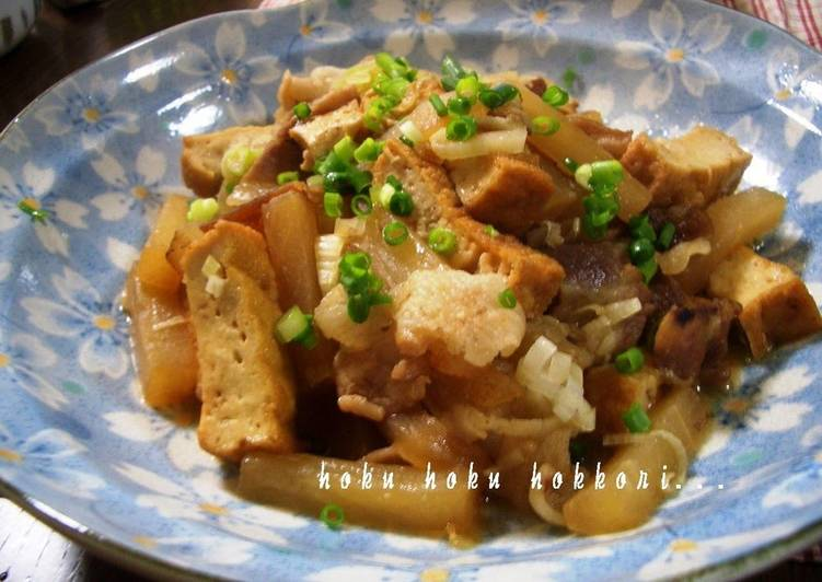 Easiest Way to Prepare Homemade Stir-fried and Simmered Daikon Radish, Pork, and Atsuage