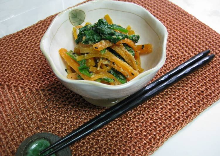 Easiest Way to Prepare Perfect Carrot and Komatsuna Greens with Mentsuyu and Miso
