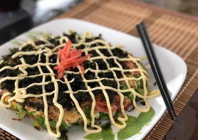 Recipe: Delicious Japanese Cabbage Okonomiyaki Pancake