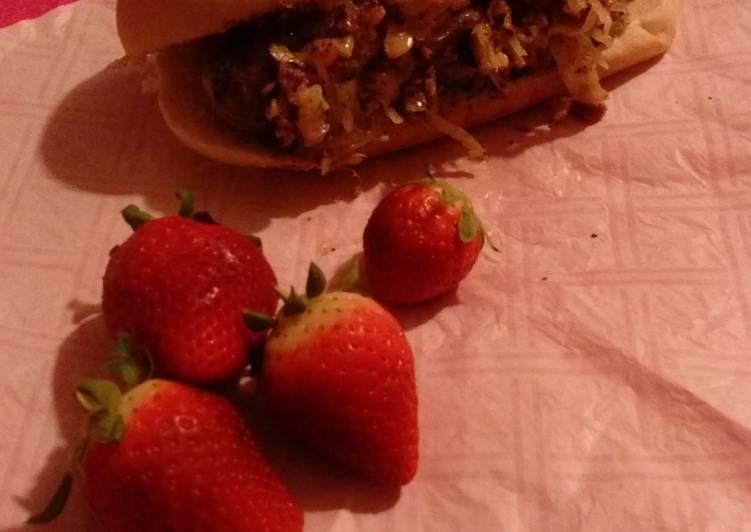 Polish Fresh Sausage and Sauerkraut on a sub roll