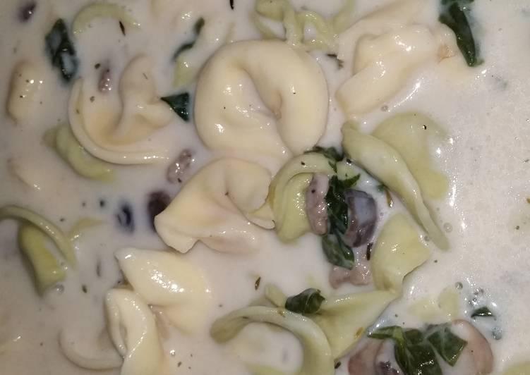 Creamy Tortellini Spinach Mushroom Soup with Turkey Sausage