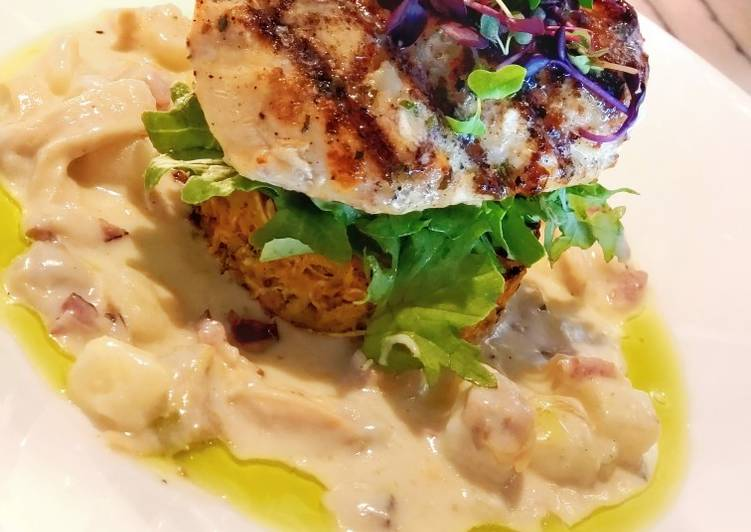 How to Make Appetizing Grilled Fish with Awadhi Creamy Potato, Veggie Rosti & Greens