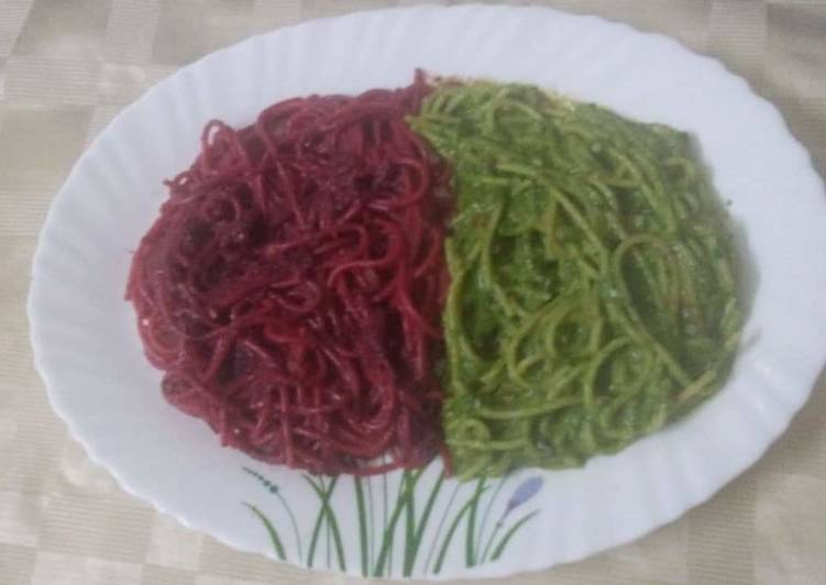 Recipe of Favorite Beetroot and Spinach Spaghetti Pasta