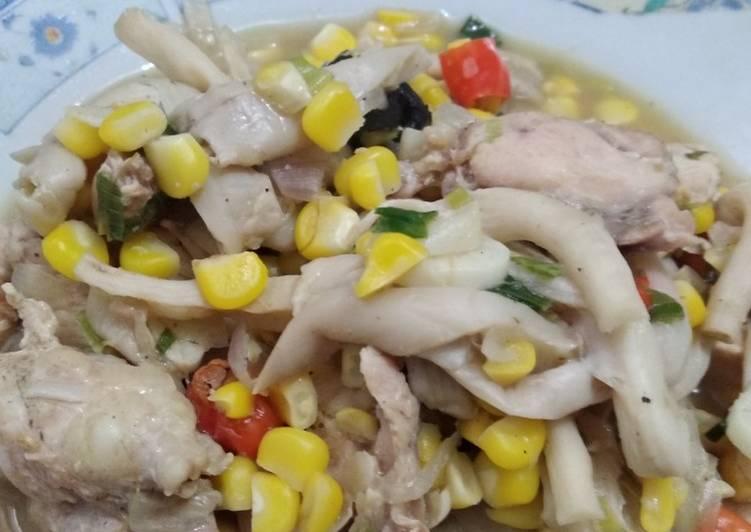 Cah ayam jamur tanpa minyak