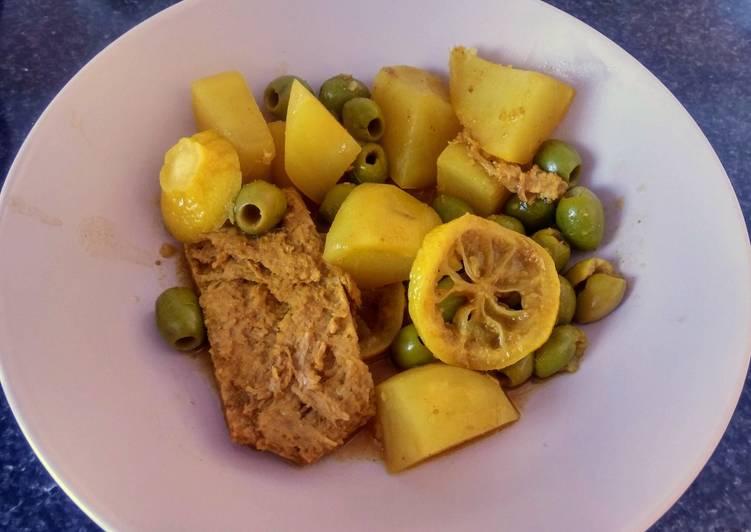 Tajine PST, olives et citron (vegan)