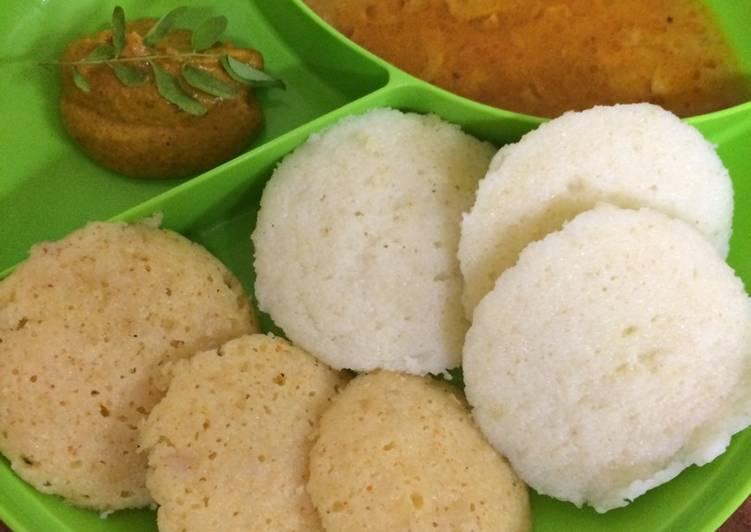 Mix veg Rava idli with sambhar and chutney