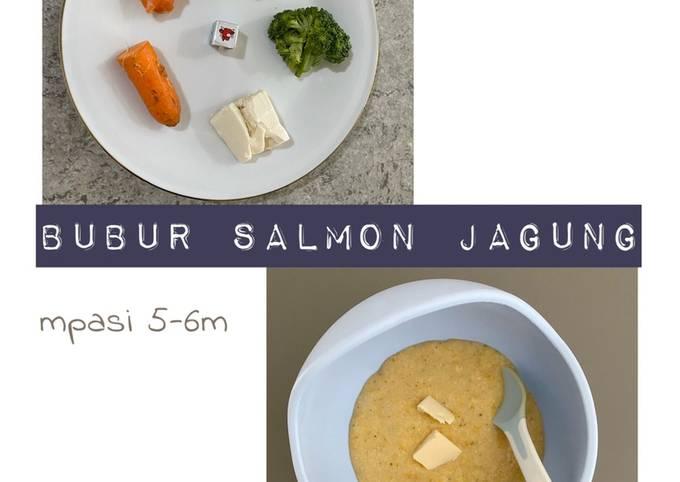 Resep Mpasi 5-6 bulan bubur salmon jagung