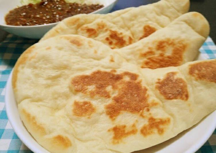 Recipe of Award-winning Easy Homemade Naan Bread (Plain or with Basil)