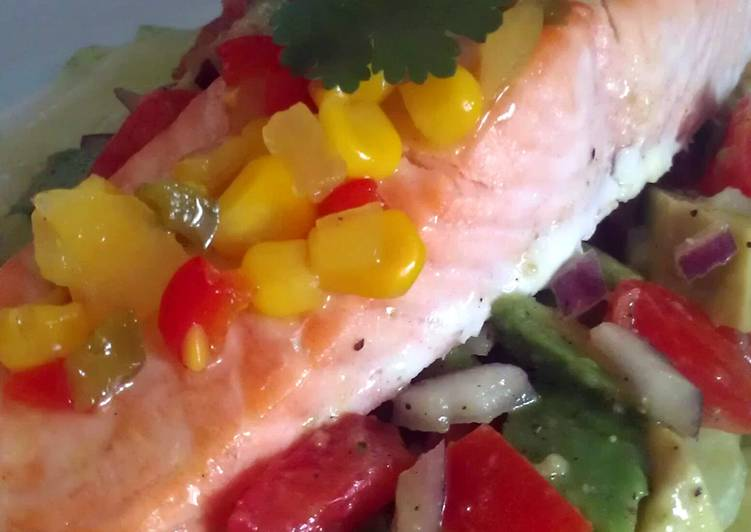 How to Prepare Appetizing Vickys Grilled Salmon with Tomato & Avocado Salsa GF DF EF SF NF