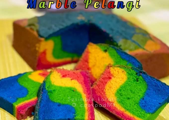 Kek Marble Pelangi (Rainbow Marble Cake)🌈