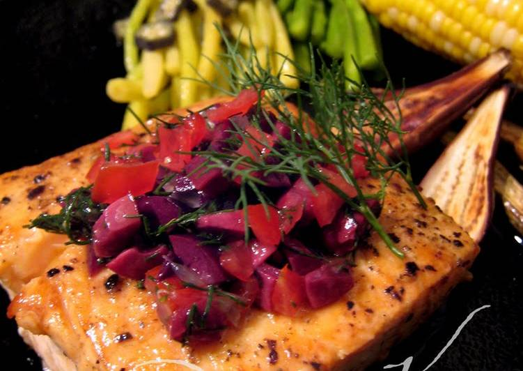 Salmon Steak With Olive Dill Sauce