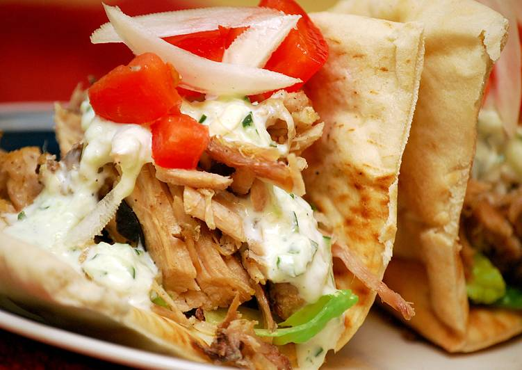 Grilled Pork Pitas w/Cucumber Mint Sauce - Laurie G Edwards