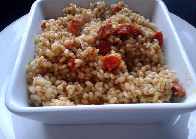 5 Minute How to Make Quick Roasted Garlic & Chorizo Barley Risotto