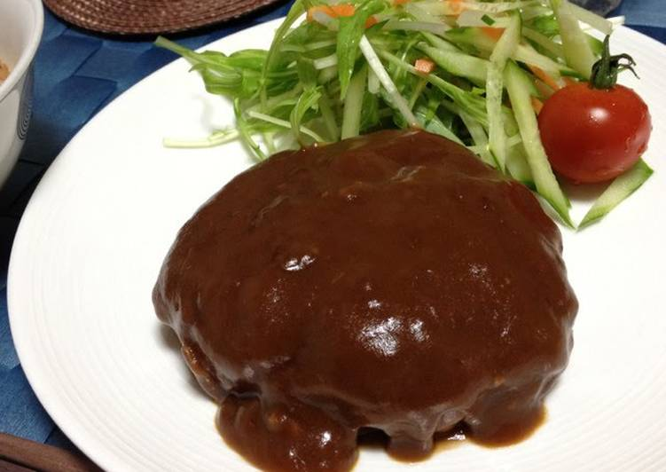 Homemade Hamburger Steaks Simmered in Demi-glace Sauce