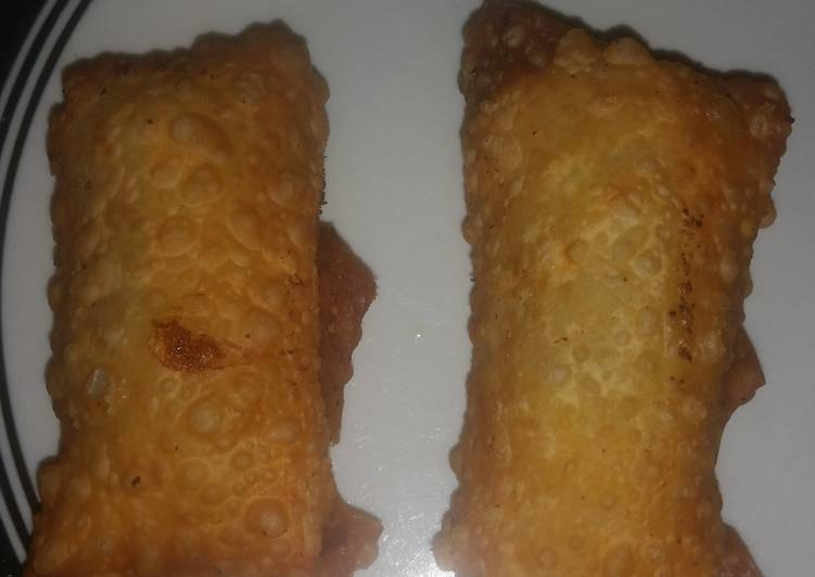 Brat/hot dog cheesy egg rolls