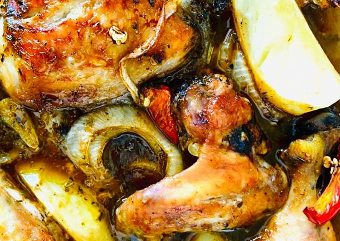 Quick roast chicken pieces with potatoes