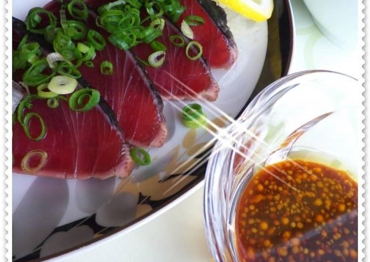 Recipe: Yummy Katsuo-no-Tataki (Seared Bonito) with Mustard Sauce