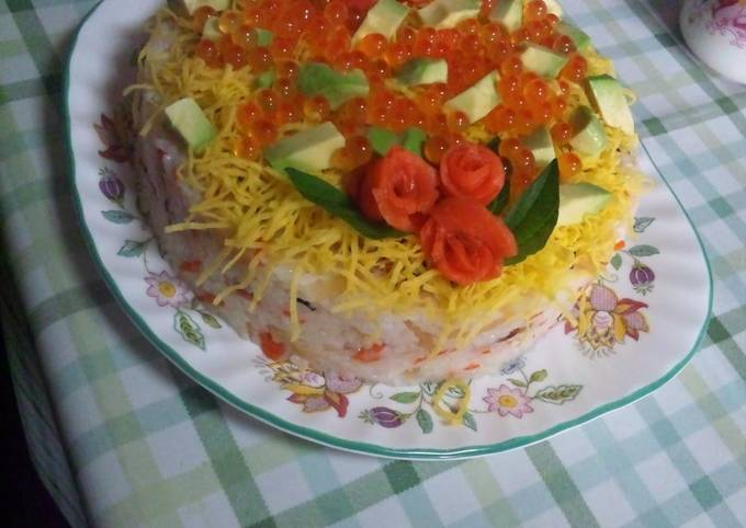 Easy Sushi Cake for Birthday Parties