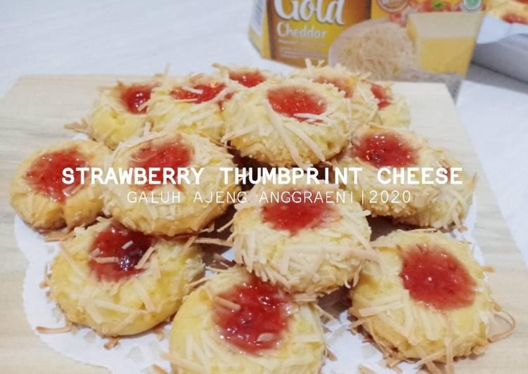 Strawberry Thumbprint Cheese Cookies (no Mixer, no cetakan)