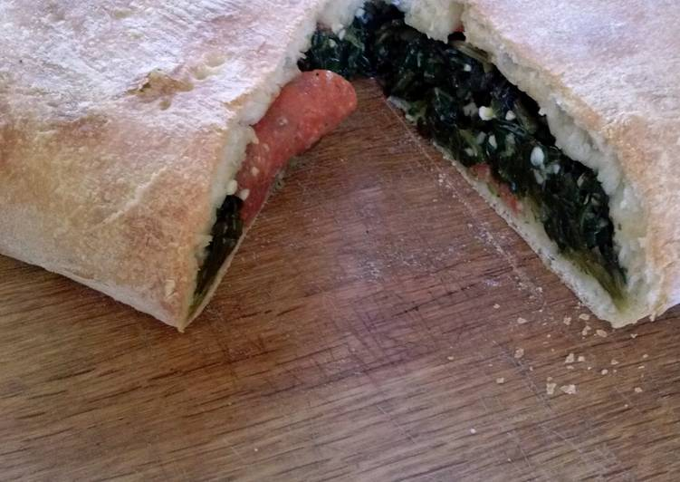 Easiest Way to Prepare Speedy Spinach & Pepperoni Calzone