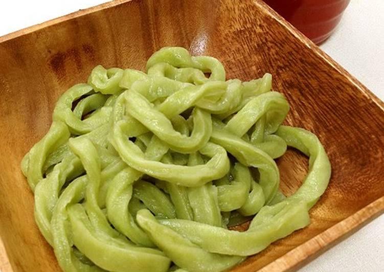 Homemade Udon Noodles Made With Matcha Aojiru