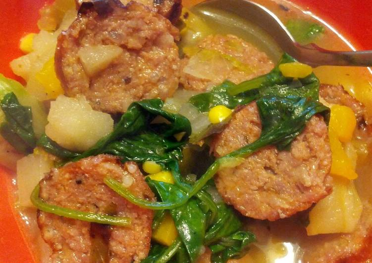 Recipe: Tasty Sausage and sprout stew