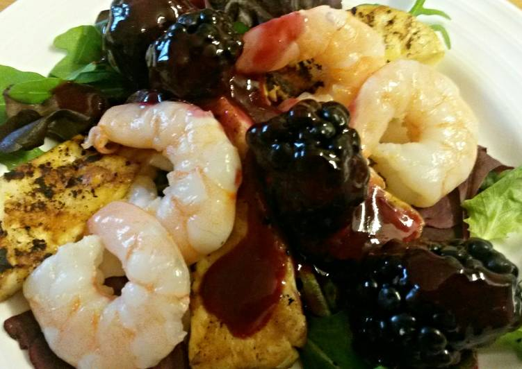 Sig's Rich Fruit Sauce with Prawns and Halloumi