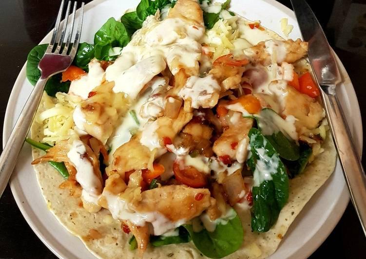 My chicken, chilli, cheese open wrap 😀