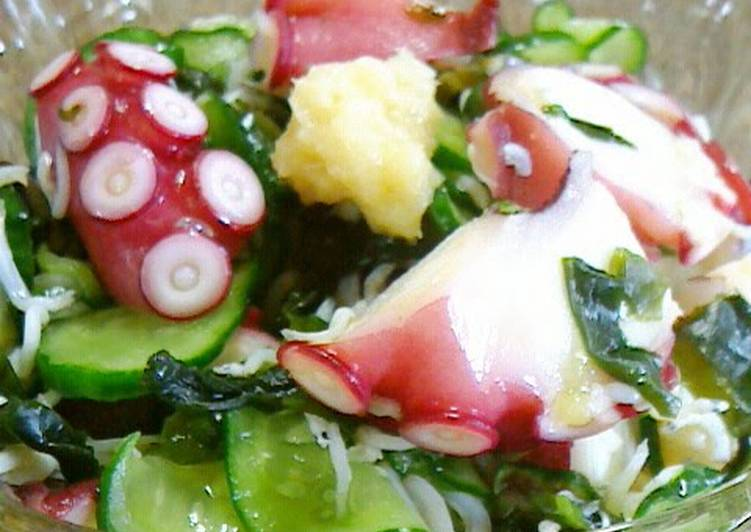 Simple Way to Prepare Any-night-of-the-week Octopus, Cucumber and Wakame Seaweed Vinegar Marinade