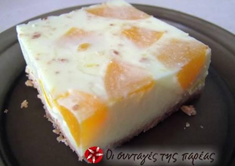 Dimitroula's peach gelatin dessert