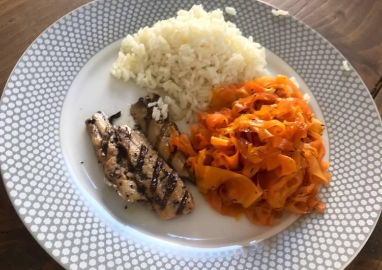 Tagliatelles de carottes au miel et au thym