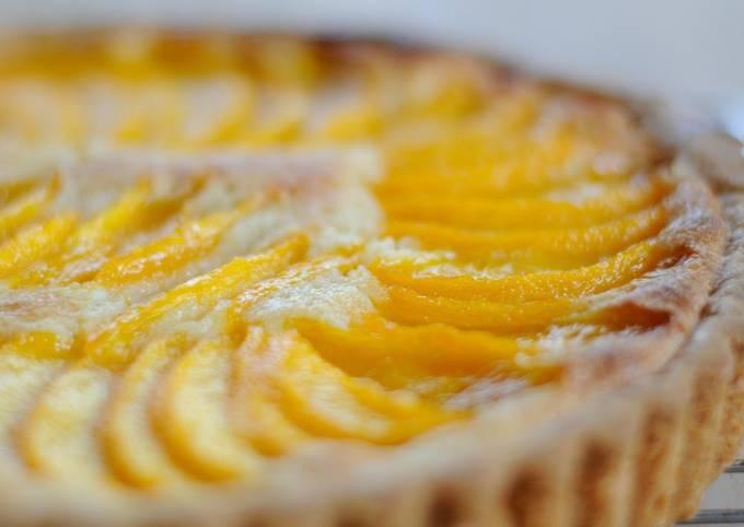 How to Prepare Super Quick Homemade Yellow Peach Almond Cream Tart