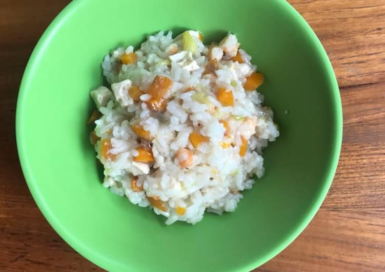 Resep MPASI 8 Tahun Keatas Nasi Tim Udang dan Tahu oleh ADNA Cook