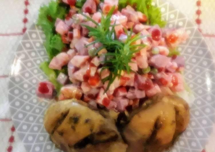 Pollo al horno con ensalada rusa peruana