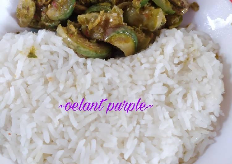 Spicy Green Egg Plant mix with salt fish
