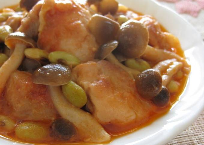 Chicken and Shimeji Mushrooms Simmered In Tomato and Yogurt Sauce