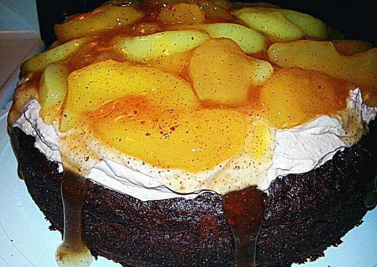 """""""The Hot Mess""""Chocolate Apple Topped Cake"""