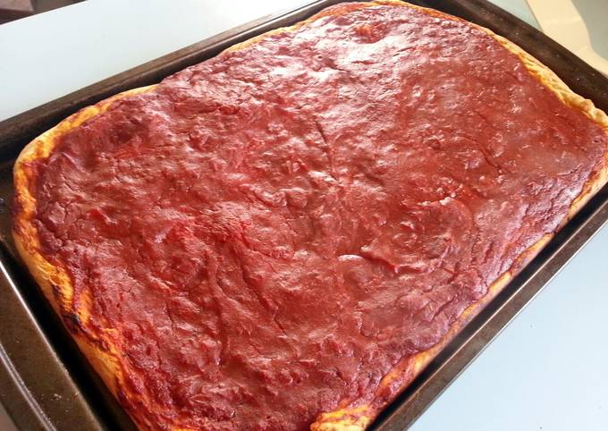 """skye's version of a """"Philly tomato pie"""" pizza"""