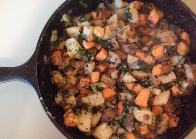 Sweet Potato and White Potato Spinach Stir Fry
