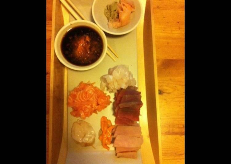 Plateau de sashimis maison gingembre et wasabi