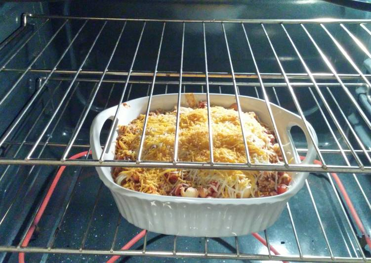 How to Prepare Appetizing Left over taco chilli pasta bake