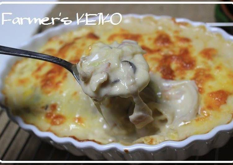 Steps to Make Most Popular Double Cheese Gratin with King Oyster Mushrooms and Japanese Leek